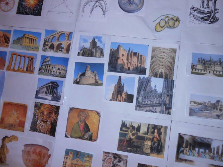 On reconnait des bâtiments qu'on a vu lors de projets précédents comme la maison carrée de Nîmes par exemple. Et le palais de papes aussi! C'est chez nous!