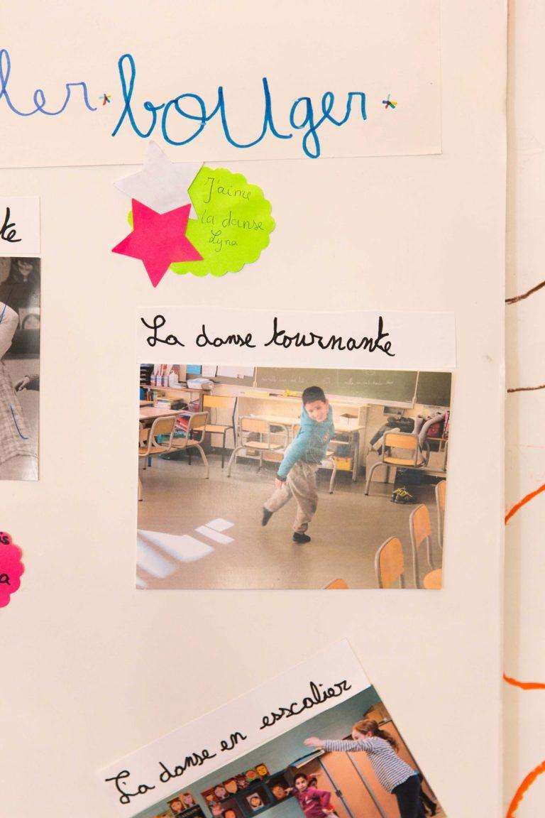 Les élèves ont utilisés les archives qu'ils possédaient dans chaque discipline, ici un zoom sur les photos d'ateliers de Danse en classe.